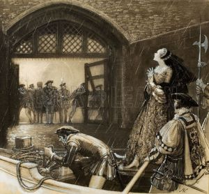 Anne being taken through the 'Traitors Gate' to the tower