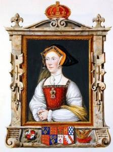 STC146706 Portrait of Jane Seymour (c.1509-37) 3rd Queen of Henry VIII from 'Memoirs of the Court of Queen Elizabeth' after a portrait by Hans Holbein (1497/8-1543), published in 1825 (w/c and gouache on paper) by Essex, Sarah Countess of (d.1838) watercolour and gouache on paper Private Collection The Stapleton Collection English, out of copyright