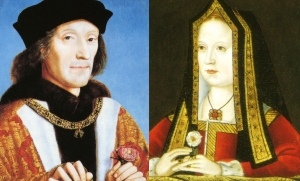 Henry VII and Elizabeth of York. I like how she has sneakily popped in a white rose of York.