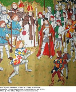 Henrys 'unofficial' coronation at Bosworth. Apparently this picture is based upon a tapestry, and not a crap colouring in book bought from a National Trust property.